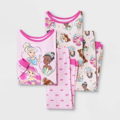 Toddler Girls' 4pc Disney Princess Snug Fit Pajama Set - Pink