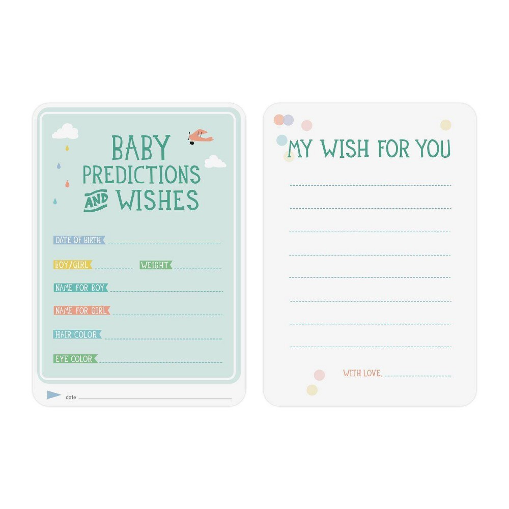 Image of Milestone Baby Shower Predictions and Wishes Cards - 6pc