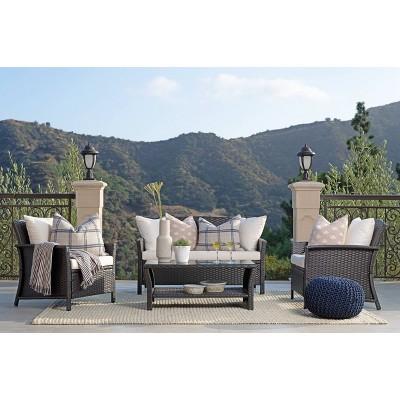 Malibu 4pc Outdoor Curved Wicker Sofa Set - Brown/White - Coaster
