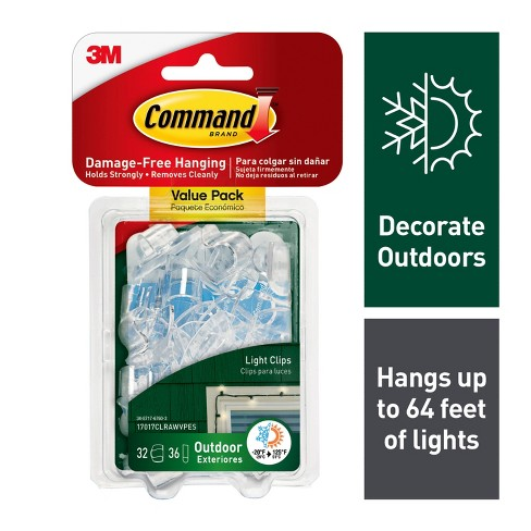 Command Clear Outdoor Light Clips with Foam Strips Value Pack (32 Clips 36 Strips) - image 1 of 9