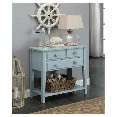 Coastal Three Drawer Console Table   Blue   Christopher Knight Home : Target