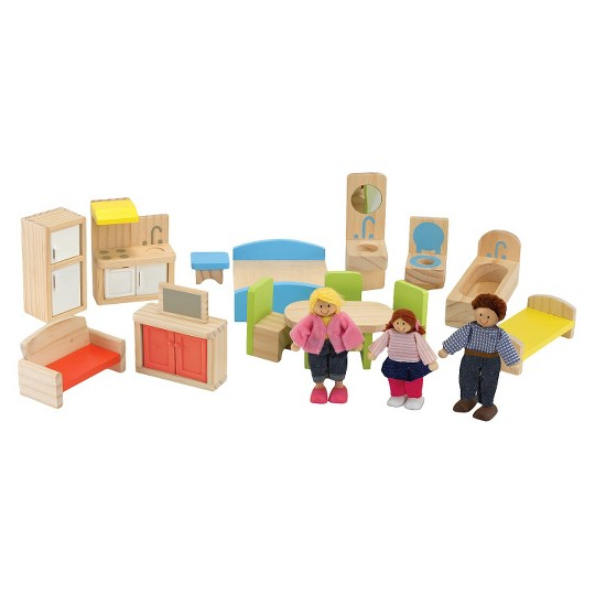 Melissa & Doug Hi-Rise Wooden 15pc Dollhouse with Furniture, Garage and Working Elevator image number null