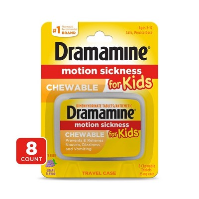 Dramamine Chewable Motion Sickness Relief for Kids - Grape Flavored -  8ct