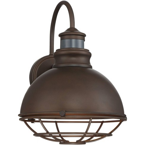 """John Timberland Industrial Outdoor Wall Light Fixture Urban Barn Oiled Bronze 14"""" Round Cage Motion Security Sensor for House Porch Patio - image 1 of 4"""