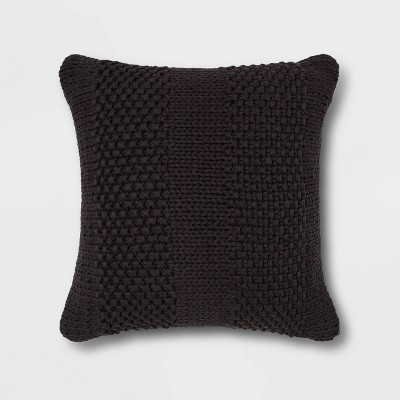 Chunky Patterned Weave Square Throw Pillow Black - Project 62™
