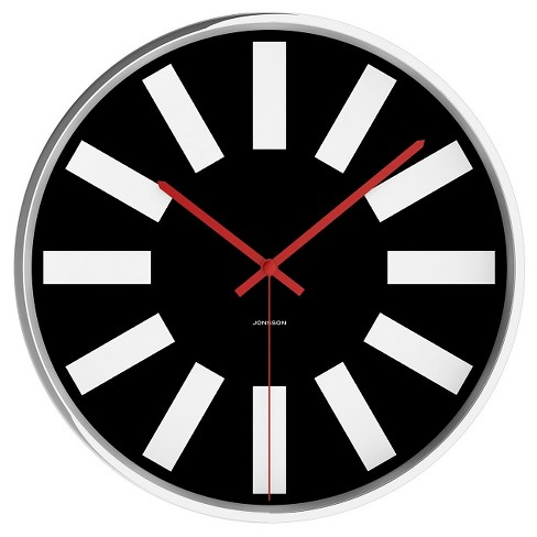 "Chrome 12"" Round Wall Clock Black/Silver - JONSSON Timeware® - image 1 of 3"