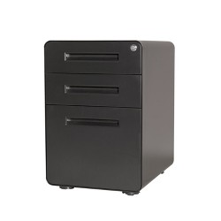 Pemberly Row 3-Drawer Mobile File Cabinet with Anti Tilt in Black