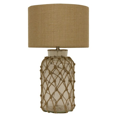 J Hunt Seeded Gl Table Lamp With Rope Net Clear Natural