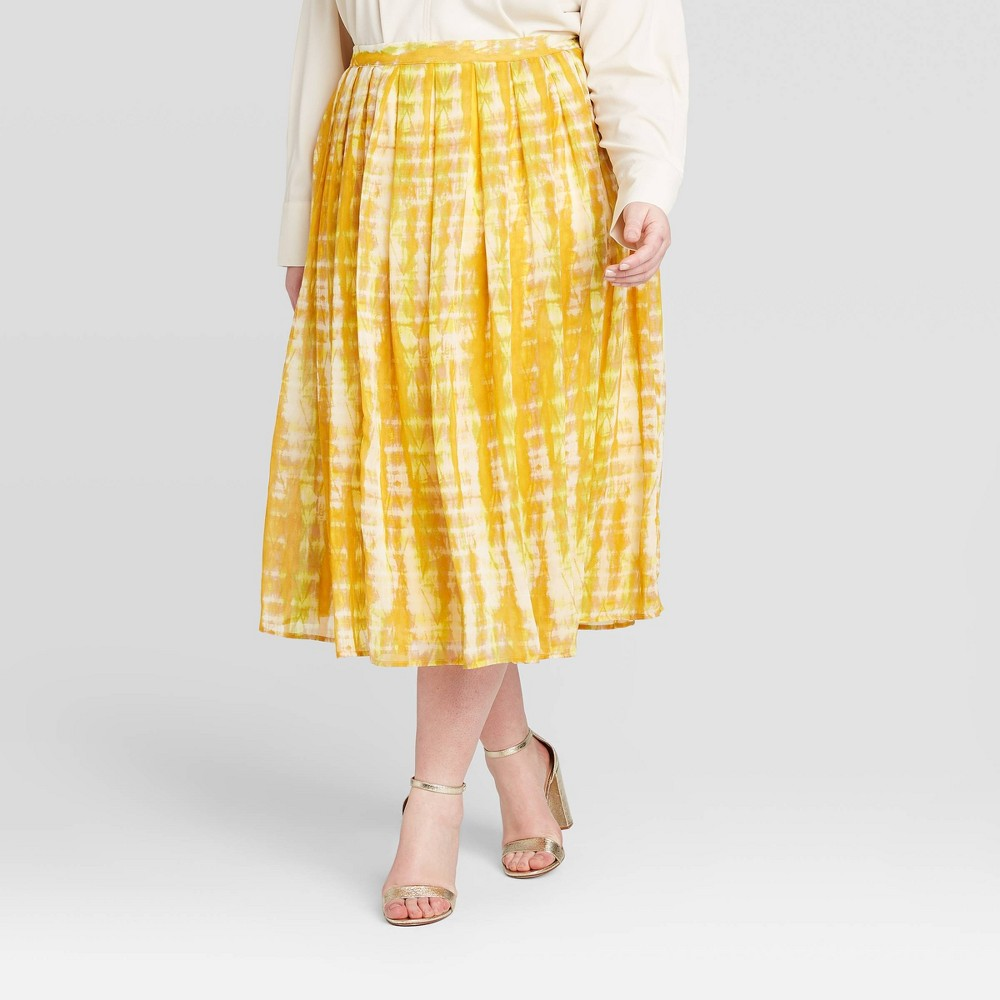 Women's Plus Size Tie-Dye Print Mid-Rise Flowy A-Line Midi Skirt - Who What Wear Yellow 22W was $29.99 now $20.99 (30.0% off)