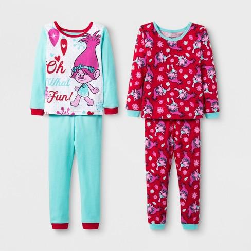 f7e0c0da351a Toddler Girls  Trolls 4pc Cotton Pajama Set - Green 3T   Target