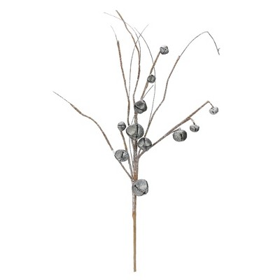 "Napco 30"" Glittered Galvanized Jingle Bell Twig Artificial Christmas Spray"