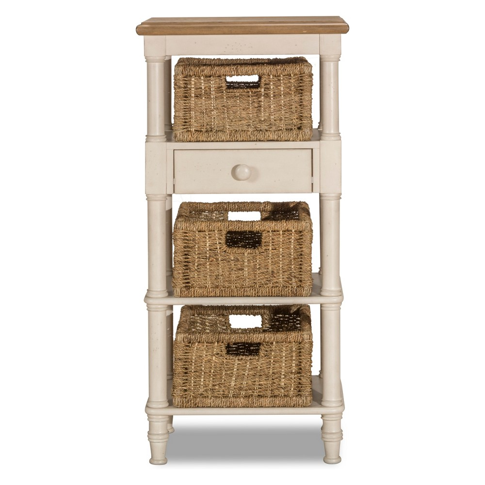 Image of Seneca Tall Basket Stand With Middle Drawer Three Baskets Included Wood Driftwood Top/Sea White Base/Natural Seagrass - Hillsdale Furniture