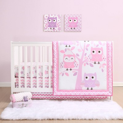 The Peanutshell Dancing Owls Microfiber Crib Bedding Set - 3pc