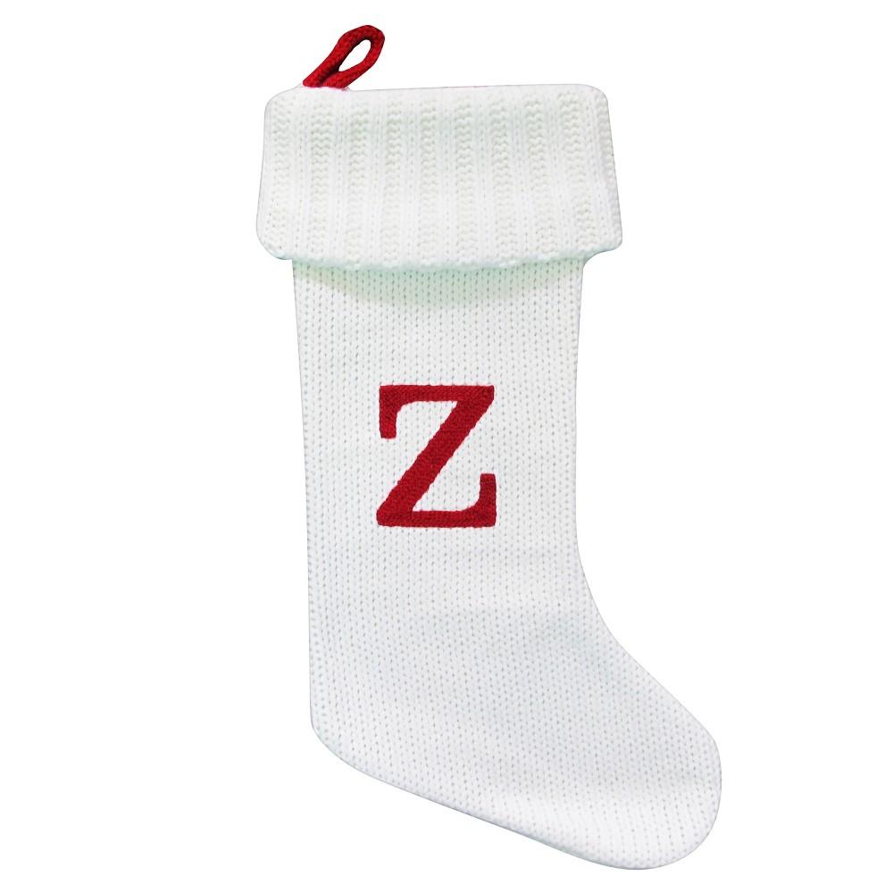 Knit Monogram Christmas Stocking White Z - Wondershop