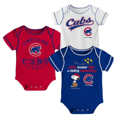 Chicago Cubs Baby Boys' 3pk Short Sleeve Bodysuit - 6-9 M