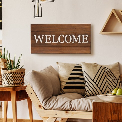 12 X24 Welcome Cut Out Wood Plank Wall Art Brown Patton Wall Decor
