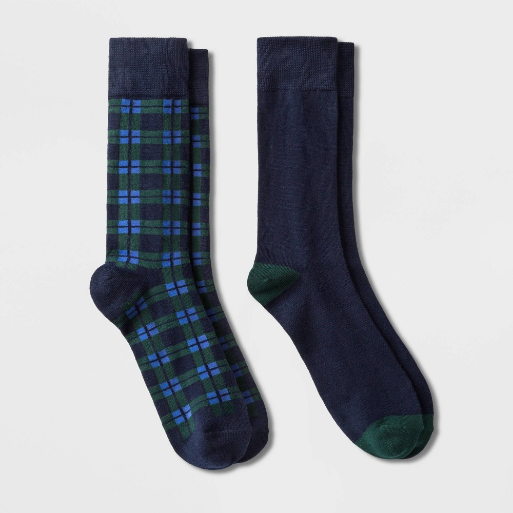 Image of Men's Plaid Crew Socks 2pk - Goodfellow & Co Blue 7-12, Men's, Size: Small, Blue Green