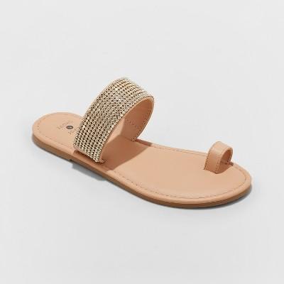 Women's Kaci Toe Ring Embellished Slide Sandals - Shade & Shore™ Tan 6
