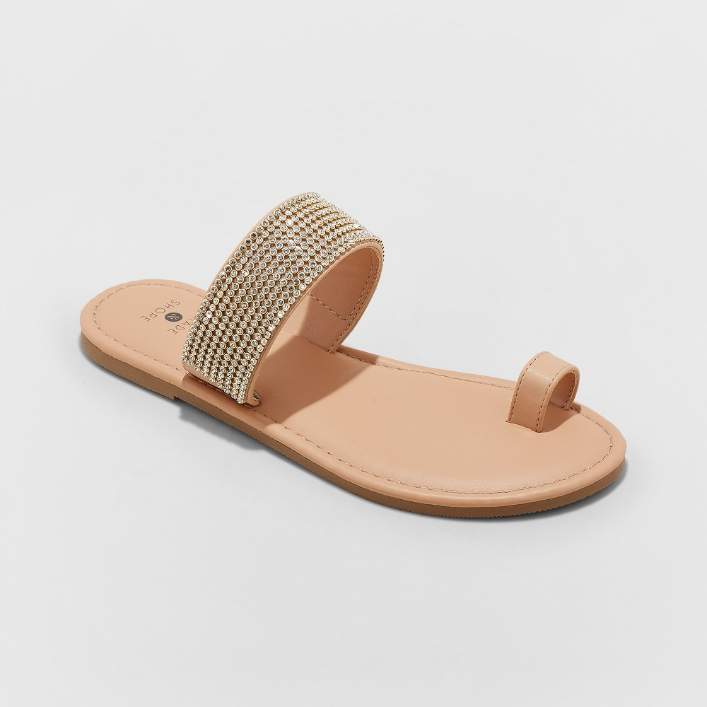 Women's Kaci Toe Ring Embellished Slide Sandals - Shade & Shore Tan 6