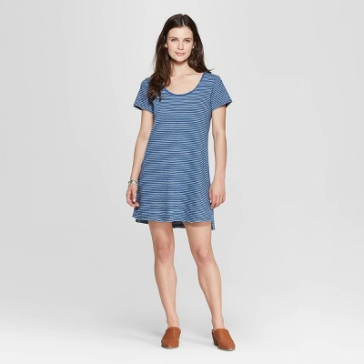 d7b8f54852d Women s Striped Short Sleeve T-Shirt Dress - Universal Thread™ Navy