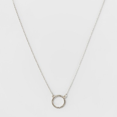 Pave Open Circle Short Necklace - A New Day™ Silver