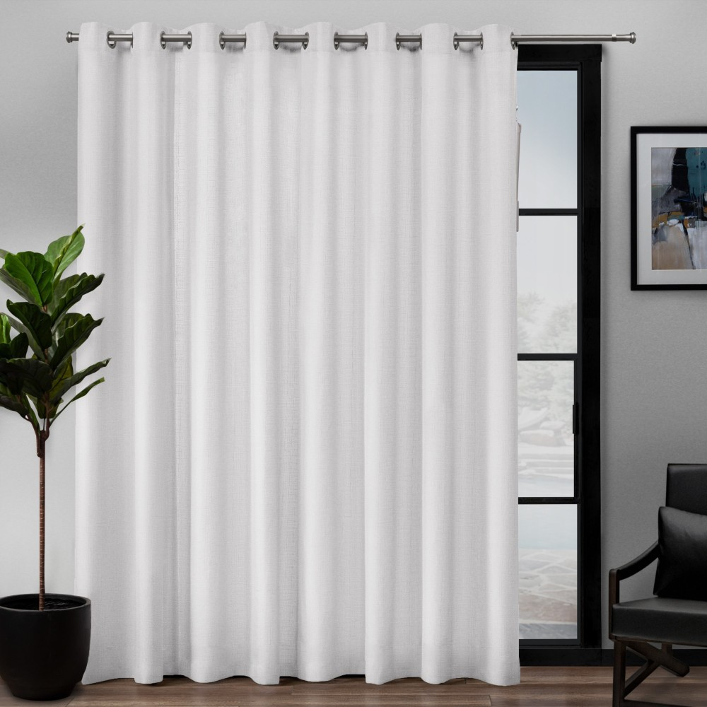 "Image of ""108""""x84"""" Loha Patio Grommet Top Single Curtain Panel Winter White - Exclusive Home"""