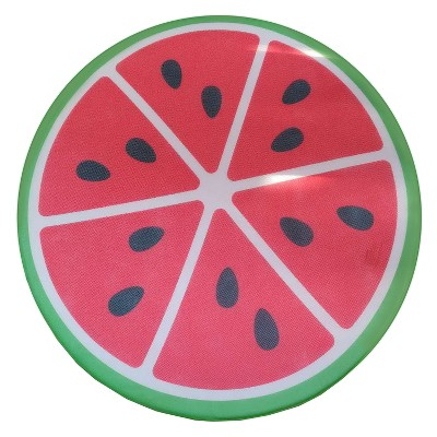 COMFY FLOATS Soft Mesh Self-Inflating Expanding Memory Foam Sun Disc Pool Float with Protective Vinyl Layer, Watermelon Design
