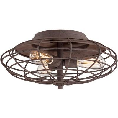 "Franklin Iron Works Industrial Ceiling Light Flush Mount Fixture LED Dark Rust Caged 18 1/2"" Wide 3-Light for Bedroom Kitchen"