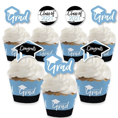 Big Dot of Happiness Light Blue Grad - Best is Yet to Come - Cupcake Decoration - 2021 Grad Party Cupcake Wrappers and Treat Picks Kit - Set of 24