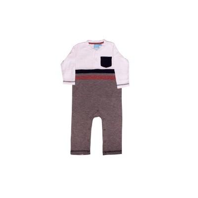 Sammy & Jake Infant Striped Eco Friendly Long Sleeve Henley Jumpsuit White