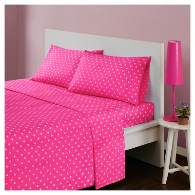 Queen Polka Dot Printed Cotton Sheet Set Dark Pink