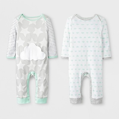 Baby 2pk Clouds Rompers - Cloud Island™ Gray/White 3-6M