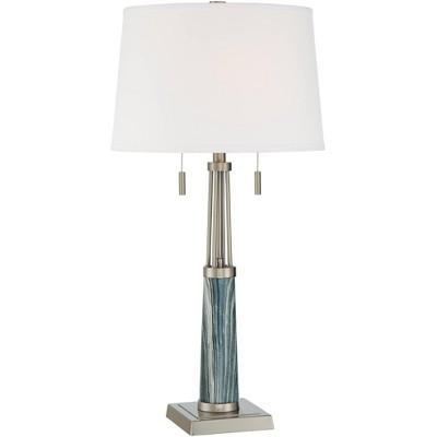 Possini Euro Design Possini Euro Lara Blue Marble Brushed Nickel Table Lamp