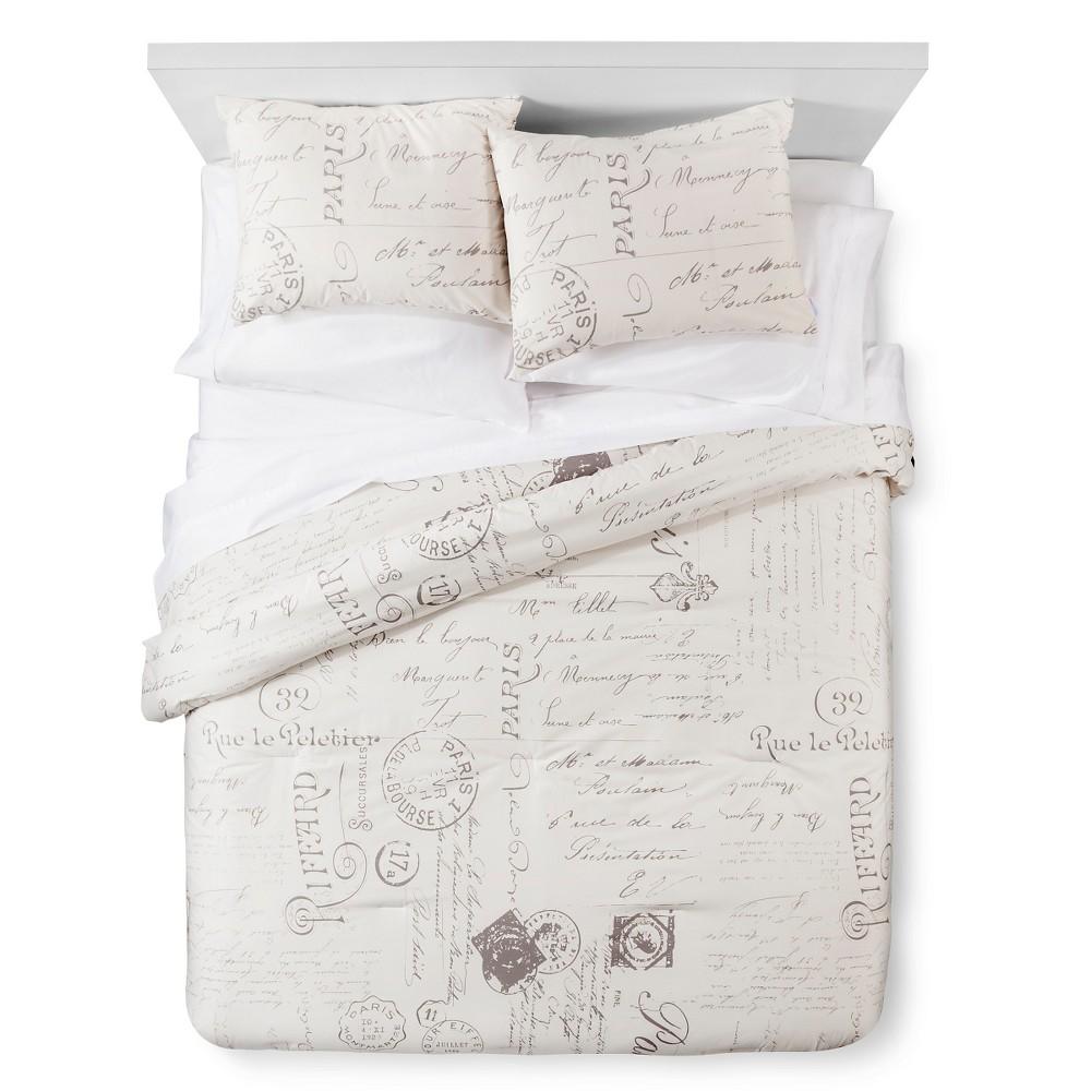 Cream (Ivory) Paris Script Comforter and Sham Set 2 Piece (Twin) - homthreads