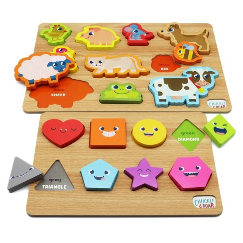 Chuckle & Roar Shapes & Animals Learning Puzzles - 2pk - image 1 of 4