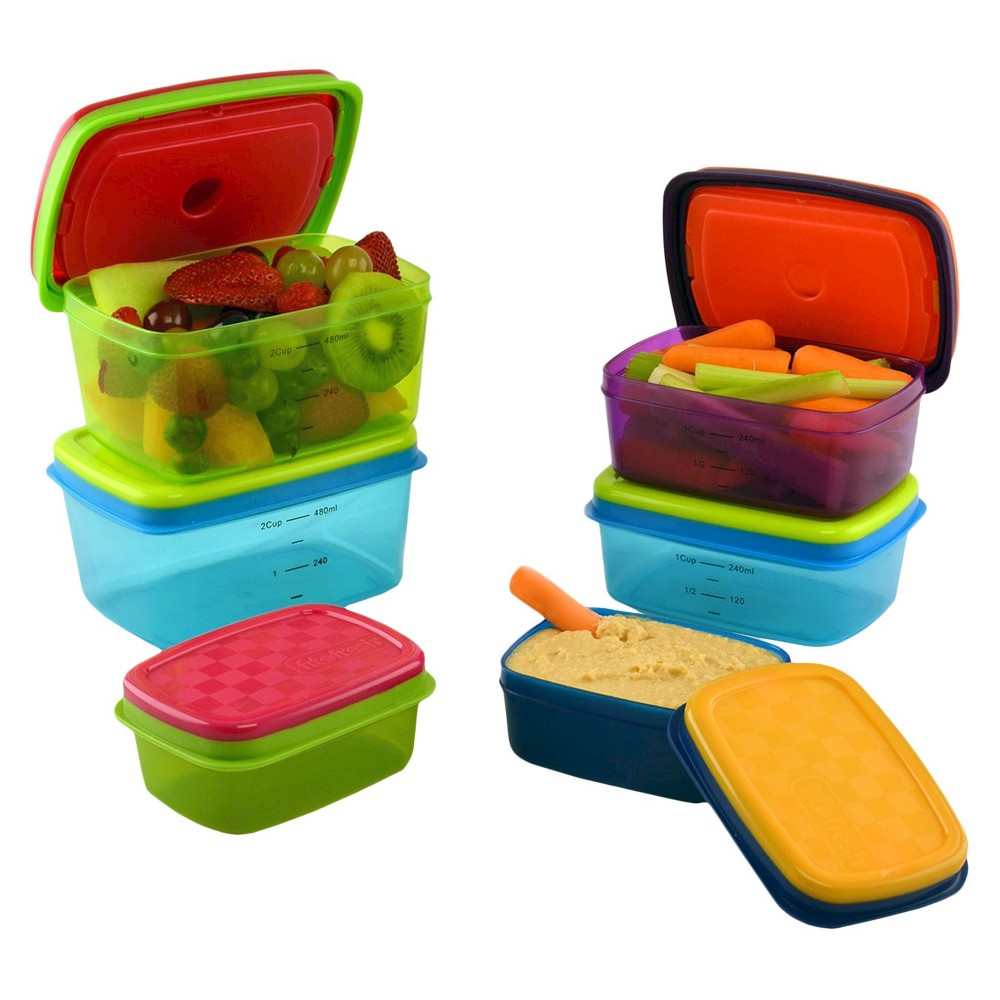 Fit & Fresh Kids 14pc Soft Touch Lid Lunch Containers with Ice Packs, Multi-Colored