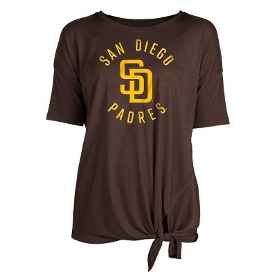 MLB San Diego Padres Women's Poly Rayon Front Knot T-Shirt