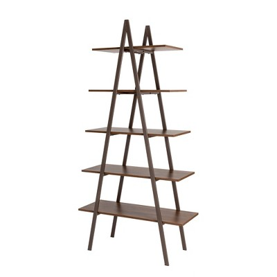Modern Industry Metal/Wooden 5 Tier 'A' Frame Bookcase and Shelves - Glitzhome