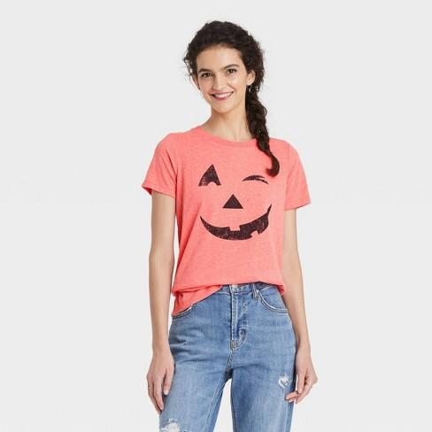 Women's Halloween Pumpkin Face Short Sleeve Graphic T-Shirt - Orange - image 1 of 2