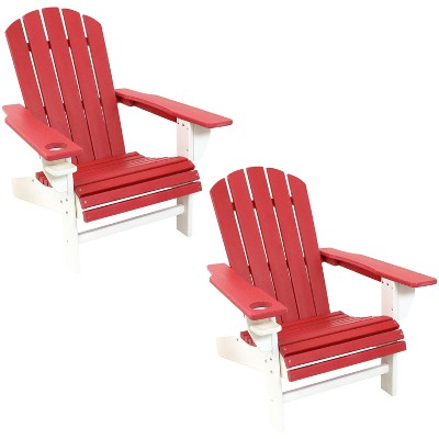 Sunnydaze Plastic All-Weather Heavy-Duty Outdoor Adirondack Chair with Drink Holder, Red and White, 2pk