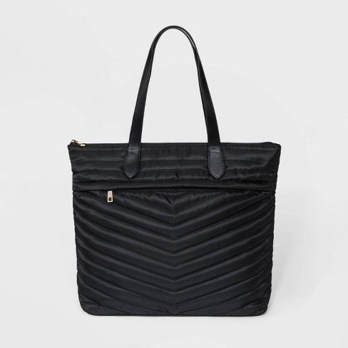 Striped Quilted Tote Handbag - A New Day™ - image 1 of 3