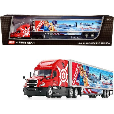 """2018 Freightliner Cascadia High-Roof Sleeper Cab with 53' Wabash Reefer Refrigerated Trailer with Skirts """"Quest Trucking"""" 1/64 Diecast DCP/First Gear"""