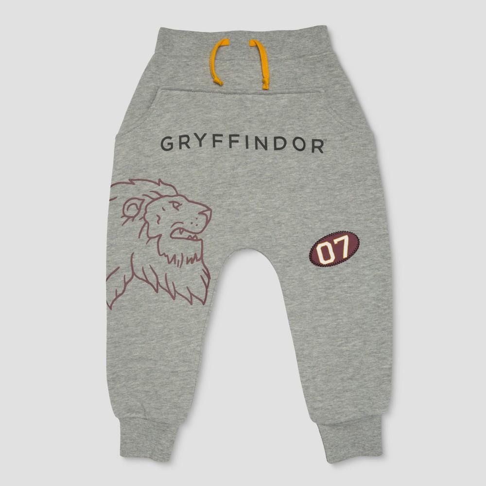 Toddler Boys' Harry Potter Line Art Gryffindor W Patch Jogger - Light Gray 5T