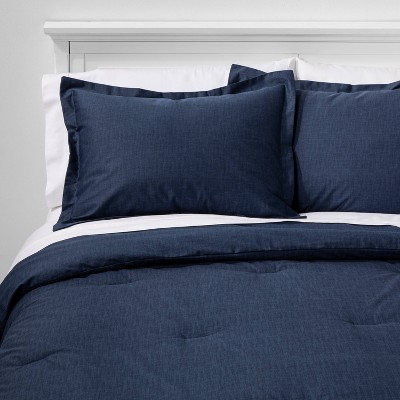 Full/Queen Family Friendly Solid Comforter & Pillow Sham Set Navy - Threshold™