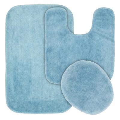 3pc Traditional Washable Nylon Bath Rug Set Basin Blue - Garland