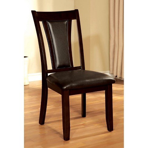 Sun & Pine Leatherette Panel Back Side Chair Wood/Dark Cherry (Set of 2) - image 1 of 3