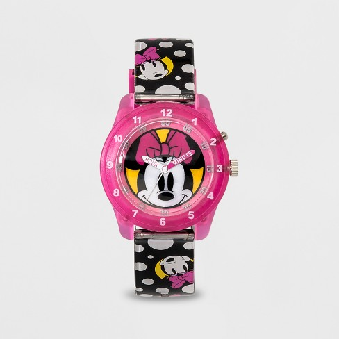 Kids' Disney Minnie Mouse Flashing Time Teacher Watch - Pink/Black - image 1 of 2