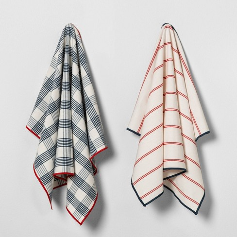 2pk Kitchen Towel Americana Blue Plaid / Red Stripe - Hearth & Hand™ with Magnolia - image 1 of 4