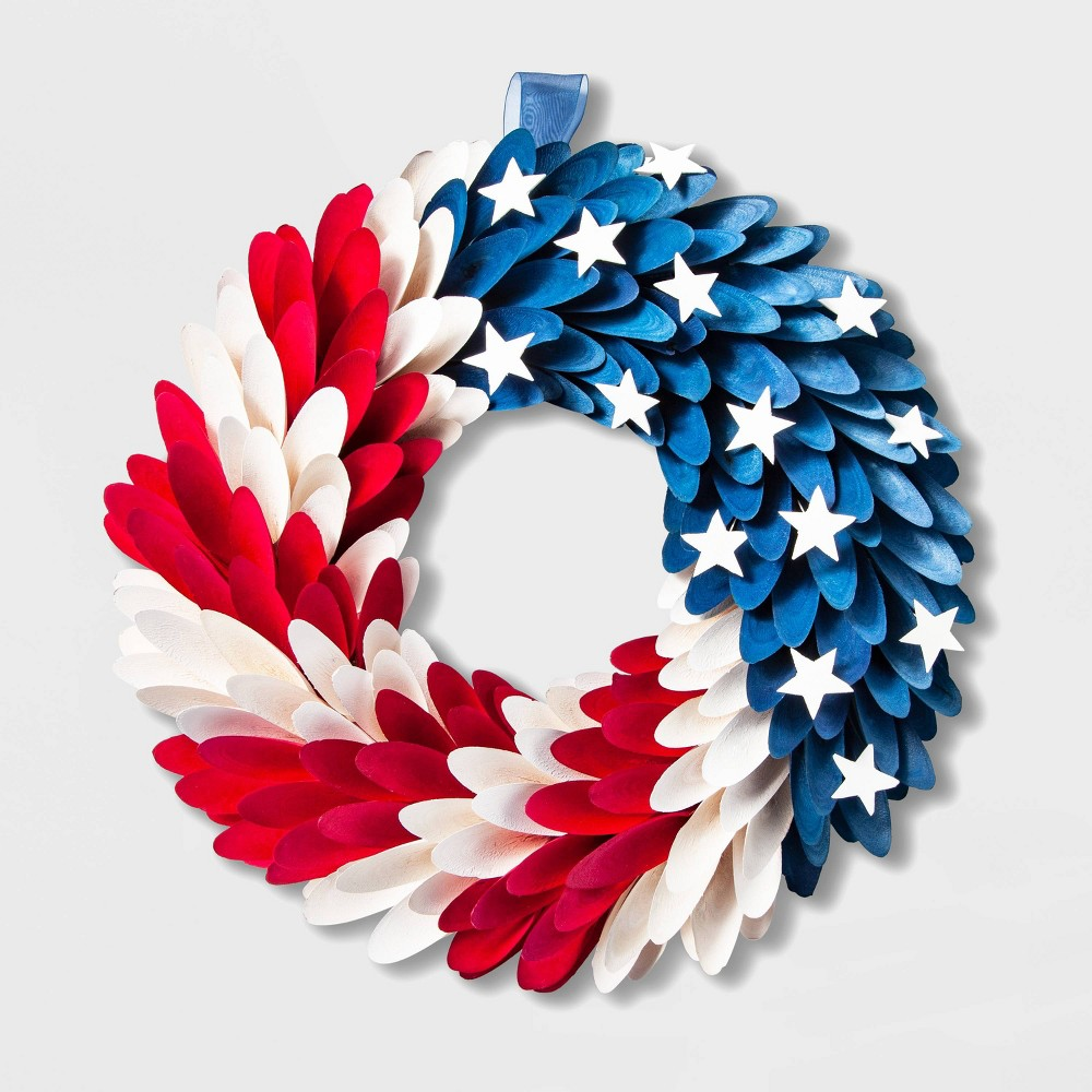"Image of ""17.8"""" Patriotic Wood Shell Wreath - Lloyd & Hannah"""