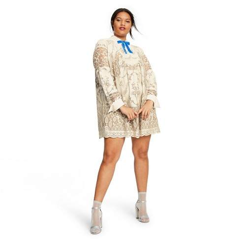 Women\'s Plus Size Lace Long Sleeve Ribbon Detail Shift Mini Dress - Anna  Sui for Target Ivory